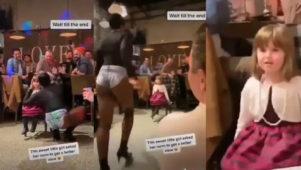Drag queen tantsib väljakutsuvalt väikesele tüdrukule, täiskasvanud elavad rõõmsalt kaasa